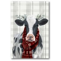 Courtside Market™ Yuletide Cow I 12-Inch x 1.5-Inch Framed Wrapped Canvas