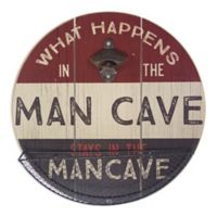 """What Happens In The Man Cave"" 14-Inch Bottle Opener Metal Wall Art"