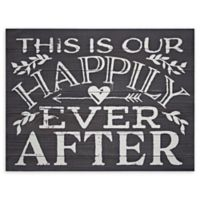 Happily Ever After Textual Art 1-Inch x 18-Inch MDF Wood Wall Art in Black
