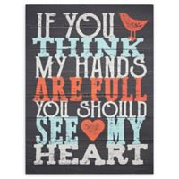 Hands Are Full Textual Sign 1-Inch x 20-Inch MDF Wood Wall Art in Black