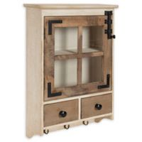 Kate and Laurel Hutchins Windowpane Wall Cabinet with Drawers in Natural