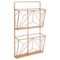 Kate and Laurel Tyde 2 Pocket Wall Organizer File Holder in Rose Gold