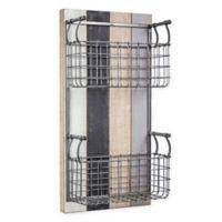 Masterpiece Art Gallery 24-Inch x 12-Inch Wood and Metal 2 Basket Wall Organizer