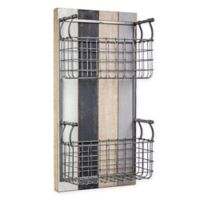Masterpiece Art Gallery 24-Inch x 12-Inch Wood and Metal 2 Basket Wall Organizer