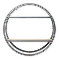 Masterpiece Art Gallery 21-Inch x 21-Inch Wood and Metal Round Hanging Wall Shelf