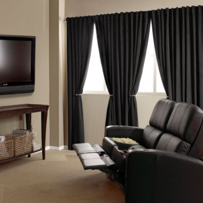 absolute zero 63inch velvet blackout home theater curtain panel in black