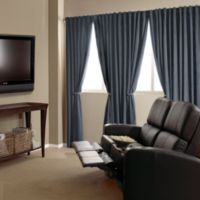 Absolute Zero 63-Inch Velvet Blackout Home Theater Curtain Panel in Stone Blue
