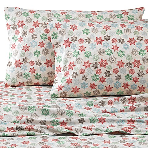 image of Micro Flannel® Printed Snowflake Sheet Set