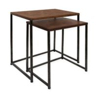 Kate and Laurel Solis 2-Piece Nesting Table Set in Brown/Black