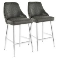 LumiSource Marcel Bar Stools in Chrome/Black (Set of 2)