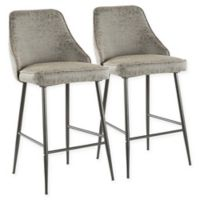 "Lumisource® Faux Leather Marcel 25.5"" Bar Stools in Black/grey (Set of 2)"
