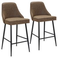 "Lumisource® Faux Leather Marcel 25.5"" Bar Stools in Black/brown (Set of 2)"