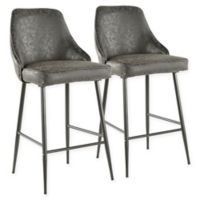 """Lumisource® Faux Leather Marcel 25.5"""" Bar Stools in Black (Set of 2)"""