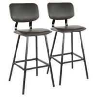 "Lumisource® Faux Leather Upholstered Foundry 29.5"" Bar Stools in Grey (Set of 2)"