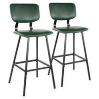 "Lumisource® Faux Leather Upholstered Foundry 29.5"" Bar Stools in Green (Set of 2)"