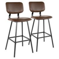 """Lumisource® Faux Leather Upholstered Foundry 29.5"""" Bar Stools in Espresso (Set of 2)"""