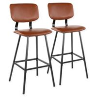 """Lumisource® Faux Leather Upholstered Foundry 29.5"""" Bar Stools in Brown (Set of 2)"""