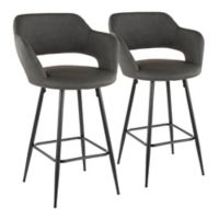 "Lumisource® Faux Leather Upholstered Margarite 26"" Bar Stools in Grey (Set of 2)"
