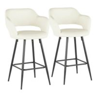 "Lumisource® Faux Leather Upholstered Margarite 26"" Bar Stools in Cream (Set of 2)"