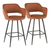 "Lumisource® Faux Leather Upholstered Margarite 26"" Bar Stools in Brown (Set of 2)"