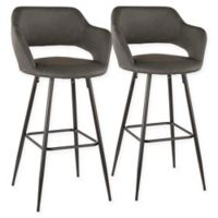"Lumisource® Faux Leather Upholstered Margarite 29"" Bar Stools in Grey (Set of 2)"