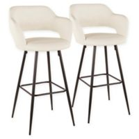"Lumisource® Faux Leather Upholstered Margarite 29"" Bar Stools in Cream (Set of 2)"