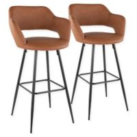 "Lumisource® Faux Leather Upholstered Margarite 29"" Bar Stools in Brown (Set of 2)"