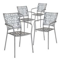 Flash Furniture Agostina Steel Patio Stacking Chairs in Antique Silver (Set of 4)
