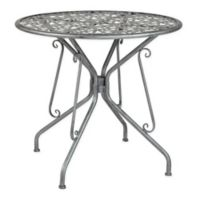 Flash Furniture 31.5-Inch Agostina Round Outdoor Patio Table in Antique Silver