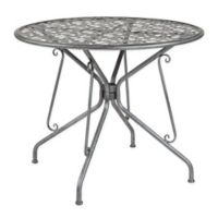 Flash Furniture 35.25-Inch Agostina Round Outdoor Patio Table in Antique Silver