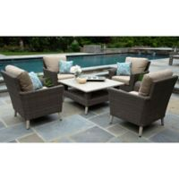 Noble 5-Piece Outdoor Deep Seating Set in Heather Beige Subrella Fabric