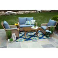 Tupelo 4-Piece Deep Seat Resin Wicker Furniture Set in Sunbrella® Denim