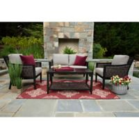 Hawthorn 4-Piece Deep Seat Resin Wicker Furniture Set in Sunbrella® Shale