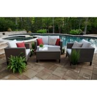 Laurel 4-Piece Deep Seat Resin Wicker Furniture Set in Sunbrella® Silver
