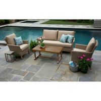 Cottonwood 4-Piece Deep Seat Resin Wicker Furniture Set in Sunbrella® Heather Beige