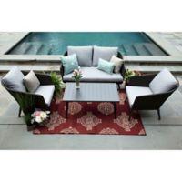 Willow 4-Piece Outdoor Deep Seating Set in Ash Sunbrella Fabric