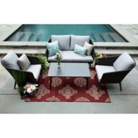 Willow 4-Piece Deep Seat Resin Wicker Furniture Set in Sunbrella® Ash