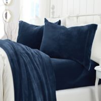 Great Bay Home Velvet Twin Sheet Set in Denim Blue