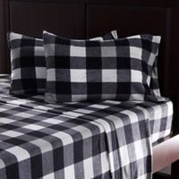 Berkshire Blanket® Microfleece Knit Full Sheet Set in Black/White Plaid