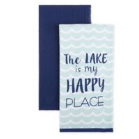 "Homewear Linens ""Lake Is My Happy Place"" Kitchen Towels (Set of 2)"