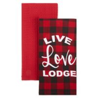 """Live Love Lodge"" Kitchen Towels in Red (Set of 2)"
