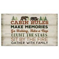 "Cabin Rules 20"" x 36"" Foam Kitchen Mat in Tan/Brown"