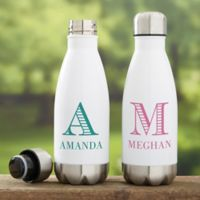 Striped Monogram Personalized Insulated Water Bottle