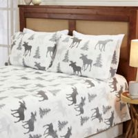Great Bay Home™ Lodge Twin Sheet Set in White/Dark Grey