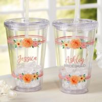 Floral Name Personalized Acrylic Insulated Tumbler
