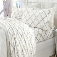 Great Bay Home™ Velvet Print Twin Sheet Set in White/grey