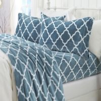 Great Bay Home™ Velvet Print Queen Sheet Set in Blue/white