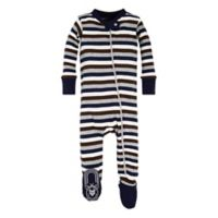 Burt's Bees Baby® Size 24M Stripe Footed Pajama in Navy/Brown