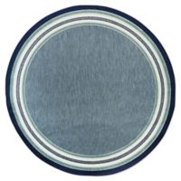 Destination Summer™ Miami Blue Border Stripe 6' Round Woven Area Rug in Blue