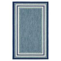 Destination Summer™ Miami Blue Border Stripe 6' X 9' Woven Area Rug in Blue